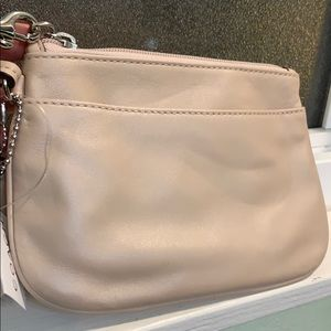 NWT Coach Leather Wristlet, Color: Shell (Cream)